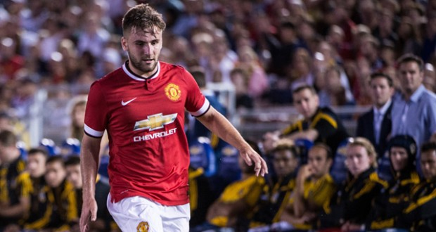 Luke Shaw races down the left wing